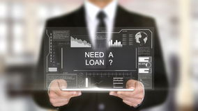 Need a Loan ?, Hologram Futuristic Interface, Augmented Virtual Reality. 4k stock video footage
