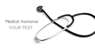 Need a medic. Stethoscope on pure white background Royalty Free Stock Images