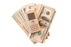 Need money. On a photo  money and mobil phone Stock Photos