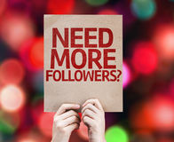 Need More Followers? written on colorful background with defocused lights Royalty Free Stock Image