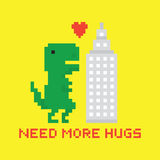 Need more hugs T-rex and skyscraper Royalty Free Stock Photos