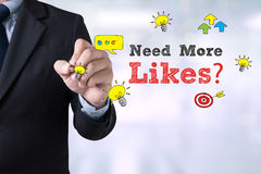Need More Likes? with Businessman on the card shown on blurred city Royalty Free Stock Photography