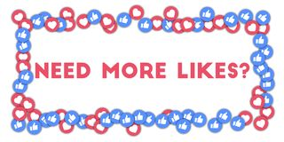 Need more likes?. Social media icons in abstract shape background with scattered thumbs up and hearts.  Concept in mind-blowing vector illustration Royalty Free Stock Images