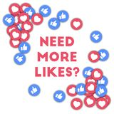 Need more likes?. Social media icons in abstract shape background with scattered thumbs up and hearts.  Concept in dazzling vector illustration Royalty Free Stock Photo