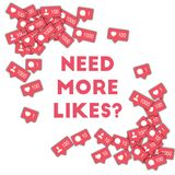 Need more likes?. Social media icons in abstract shape background with counter, comment and friend notification.  Concept in terrific vector illustration Royalty Free Stock Images