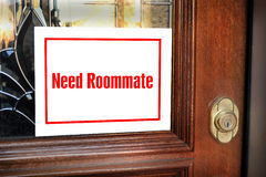 Need Roommate Sign. Need roommate sign on modern home stock image