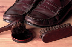 Need a Shine?. Dirty shoes need a shoe shine Royalty Free Stock Image