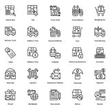 Logistic Delivery Line Vector Icons Set 4 Royalty Free Stock Images