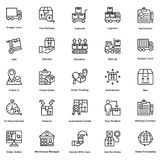 Logistic Delivery Line Vector Icons Set 7 Stock Photo