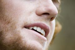 Need to shave. Close up a a man's face Royalty Free Stock Photography