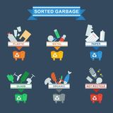 Need to sort trash blue. Set of containers for separate waste collection. Objects  on white background. Flat cartoon vector illustration Royalty Free Stock Photography