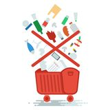 Need to sort trash. Collection of household waste. Improper garbage disposal. Objects isolated on white background. Flat cartoon vector illustration Stock Photo