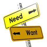 Need and want with yellow road sign Royalty Free Stock Photo