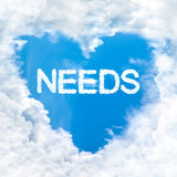 Need word inside love cloud blue sky only Royalty Free Stock Photos