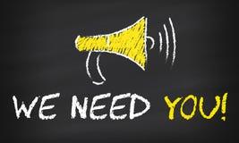 We Need You on blackboard.  stock illustration