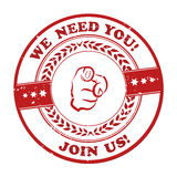 We need you, join us! - red grunge sticker Stock Photography