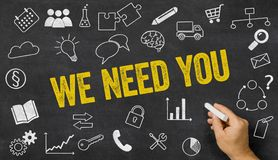 We need you written on a blackboard stock photography
