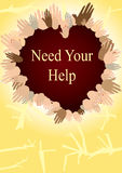 Need Your Help_eps. Illustration of multi ethnic hand Royalty Free Stock Photo