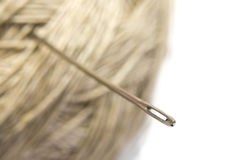Needle with ball of the threads isolated Stock Photo