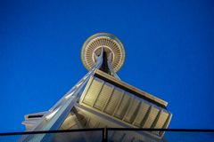 Needle from Below. Seattle Space Needle from the base Royalty Free Stock Photo