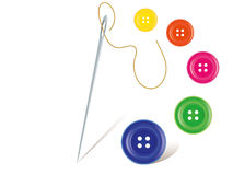 Needle with buttons. Realistic Needle with the thread and colorful buttons royalty free illustration