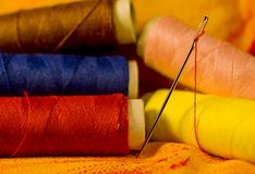 Needle on Cloth Royalty Free Stock Images