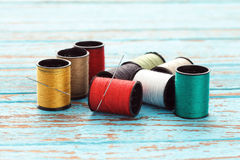 Needle colorful thread needlework embroidery tailor craft repair Stock Images