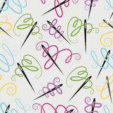 Needle and cotton pattern Royalty Free Stock Photos