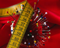 Needle Cushion and metering. Needles in a Cushion and metering stock images