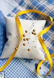 Needle cushion with pins in it Royalty Free Stock Image