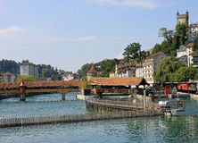 Needle Dam and Mill Bridge, River Reuss, Lucerne. Royalty Free Stock Image