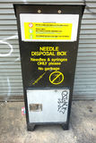 Needle Disposal Box. A needle disposal box in the Lower East Side, New York City Royalty Free Stock Images