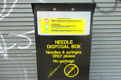 Needle Disposal Box. A needle disposal box in the Lower East Side, New York City Stock Images