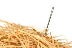Needle in haystack. Closeup of a needle in haystack Royalty Free Stock Photo