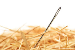 Needle in haystack. Closeup of a needle in haystack. Isolted on white background Royalty Free Stock Images