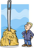 Needle in a haystack saying cartoon. Cartoon Humor Concept Illustration of Needle in a Haystack Saying or Proverb Stock Images