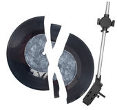 Needle head and broken vinyl Royalty Free Stock Image