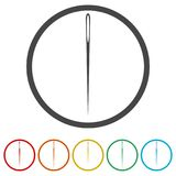Needle icon, Thread and needle icon, 6 Colors Included. Simple vector icons set Stock Photography