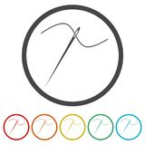 Needle icon, Thread and needle icon, 6 Colors Included. Simple vector icons set Stock Photo