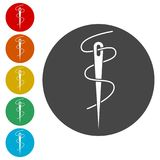 Needle icon, Thread and needle icon. Simple vector icons set Royalty Free Stock Photo