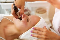 Needle mesotherapy. Microneedle meso therapy, treatment woman at the beautician spa salon.