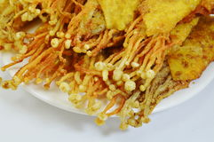 Needle mushroom fried dumpling wrapper on dish Stock Images