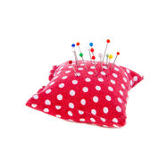 Needle pillow with pins Stock Image