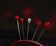 Needle pillow with pins royalty free stock image