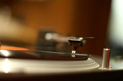 Needle on the record. A needle on the spinning record Royalty Free Stock Photo