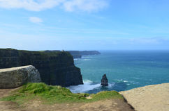 Needle Rock Formation with Blue Skies on the Cliff`s of Moher Royalty Free Stock Photo