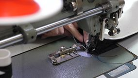Needle of the sewing machine quickly moves up and down. process of sewing leather goods. Tailor sews black leather in. A sewing workshop. needle of the sewing royalty free stock images