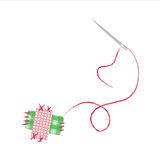 Needle sewing textile patches Stock Images