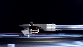 Needle on a spinning record. stock video