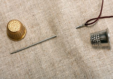 Needle and thimble Royalty Free Stock Photography